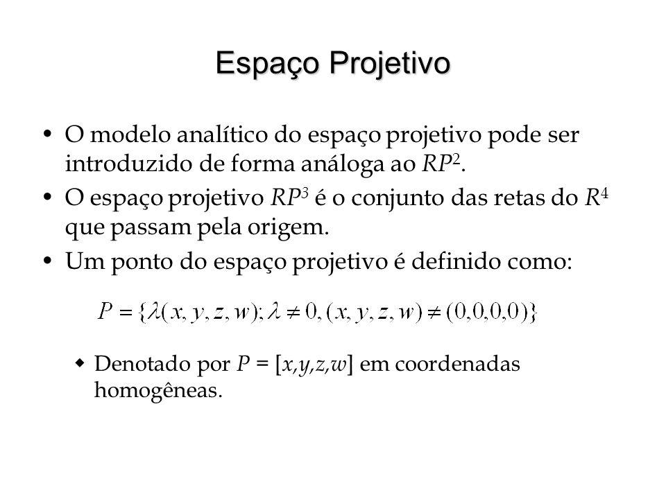 Espaço Projetivo O modelo analítico do espaço projetivo pode ser introduzido de forma análoga ao RP2.