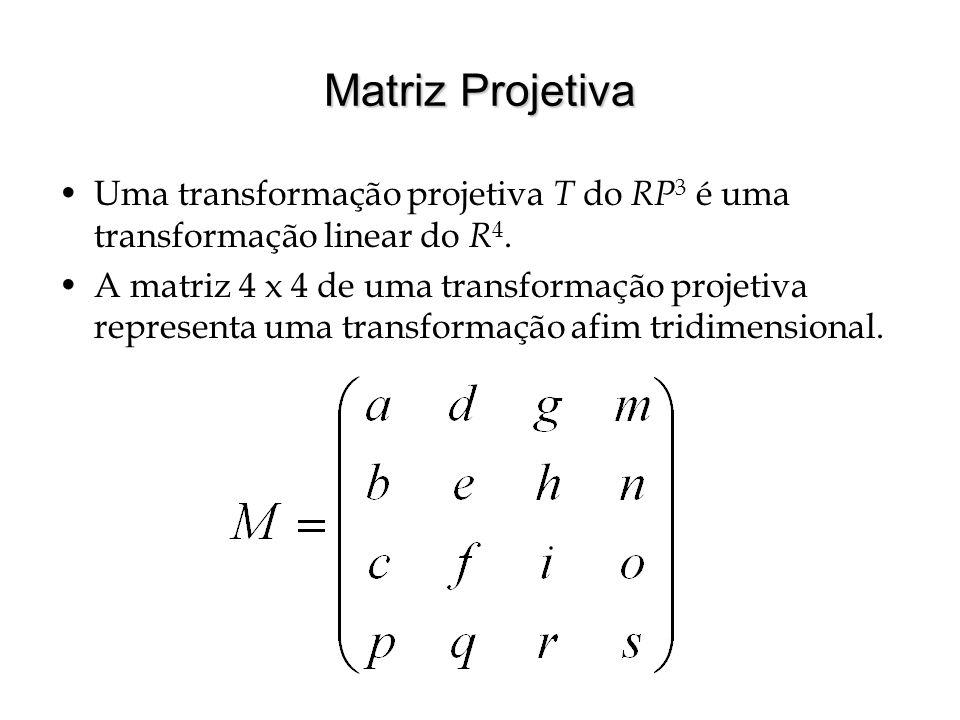 Matriz Projetiva Uma transformação projetiva T do RP3 é uma transformação linear do R4.