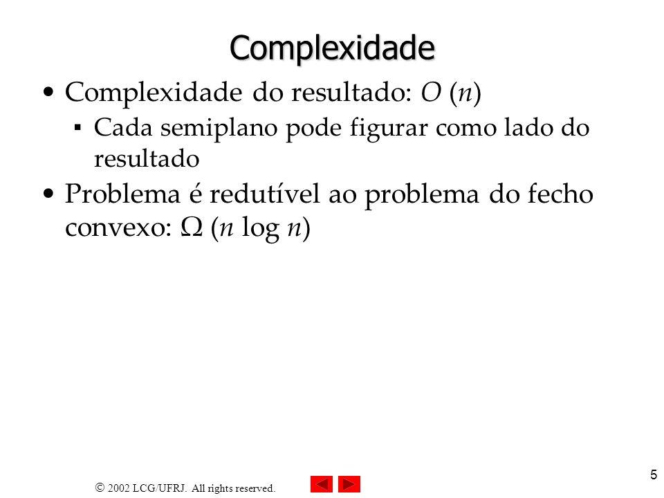 Complexidade Complexidade do resultado: O (n)
