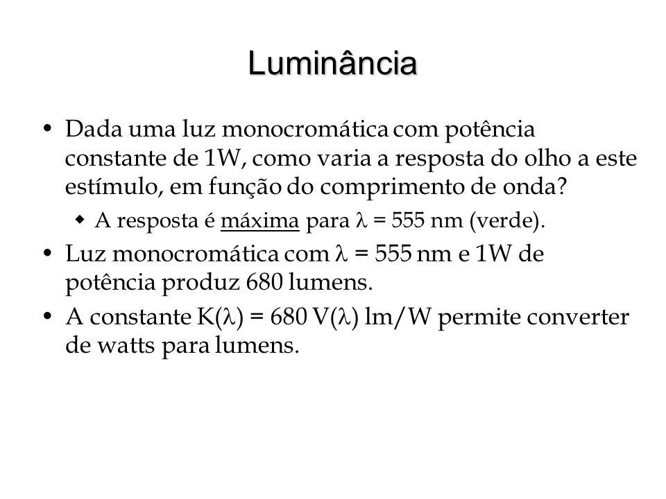 Luminância Dada uma luz monocromática com potência constante de 1W, como varia a resposta do olho a este estímulo, em função do comprimento de onda