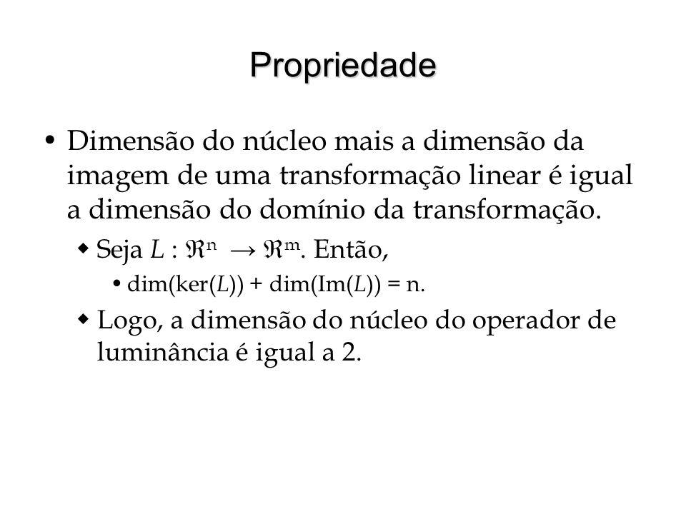 Propriedade Dimensão do núcleo mais a dimensão da imagem de uma transformação linear é igual a dimensão do domínio da transformação.
