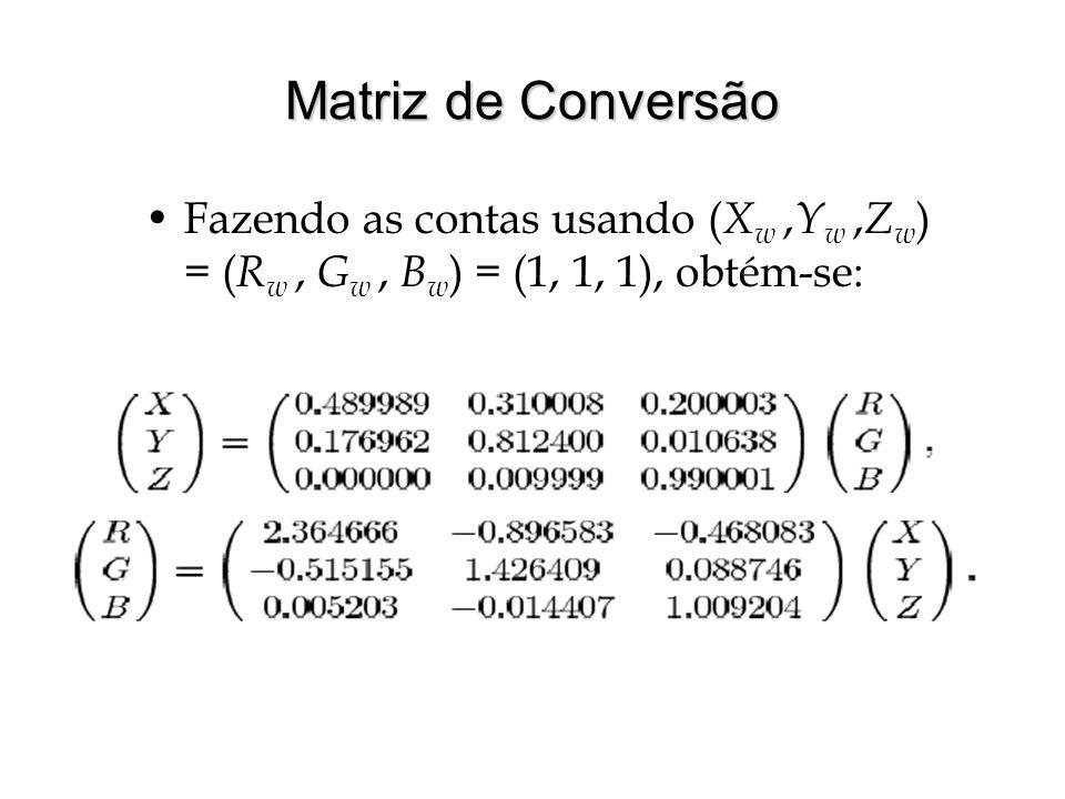 Matriz de Conversão Fazendo as contas usando (Xw ,Yw ,Zw) = (Rw , Gw , Bw) = (1, 1, 1), obtém-se: