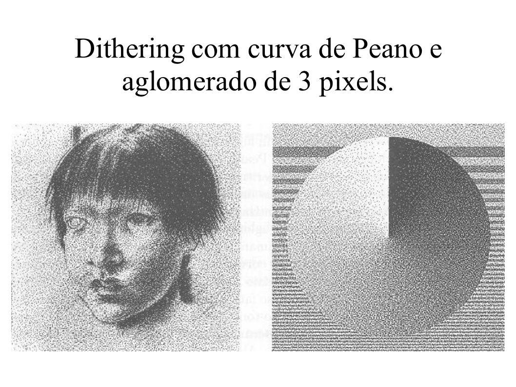 Dithering com curva de Peano e aglomerado de 3 pixels.