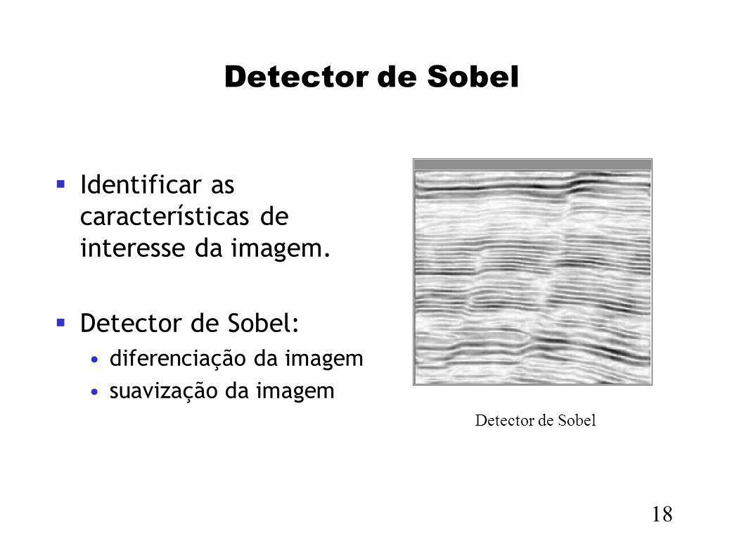Detector de SobelIdentificar as características de interesse da imagem. Detector de Sobel: diferenciação da imagem.