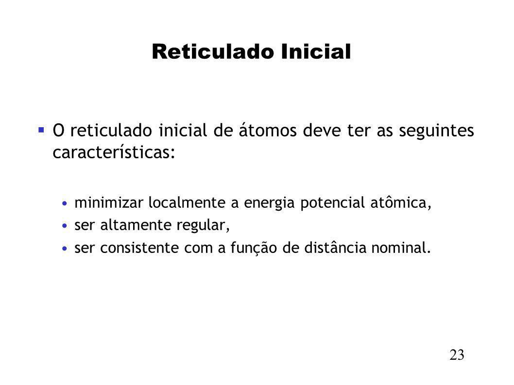 Reticulado InicialO reticulado inicial de átomos deve ter as seguintes características: minimizar localmente a energia potencial atômica,