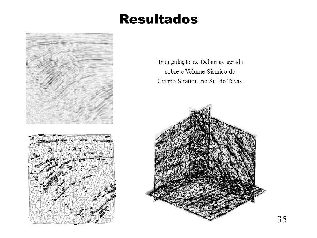 Resultados Triangulação de Delaunay gerada sobre o Volume Sísmico do. Campo Stratton, no Sul do Texas.