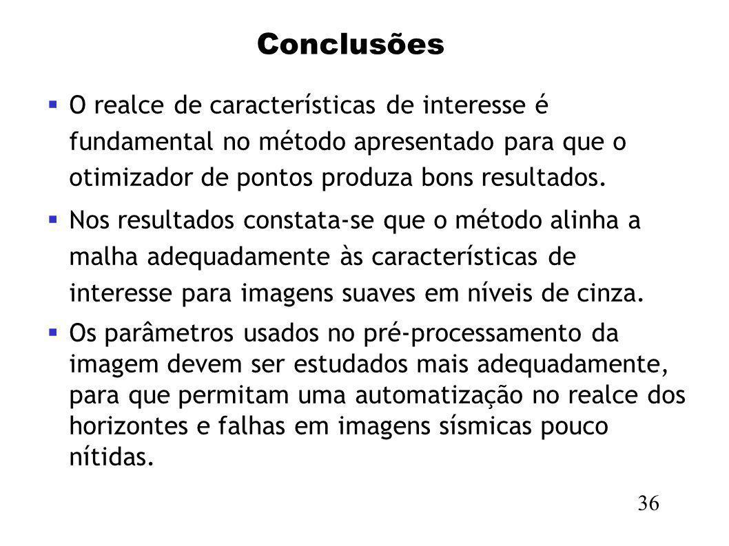 ConclusõesO realce de características de interesse é fundamental no método apresentado para que o otimizador de pontos produza bons resultados.