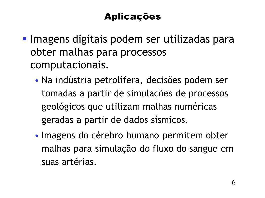 Aplicações Imagens digitais podem ser utilizadas para obter malhas para processos computacionais.