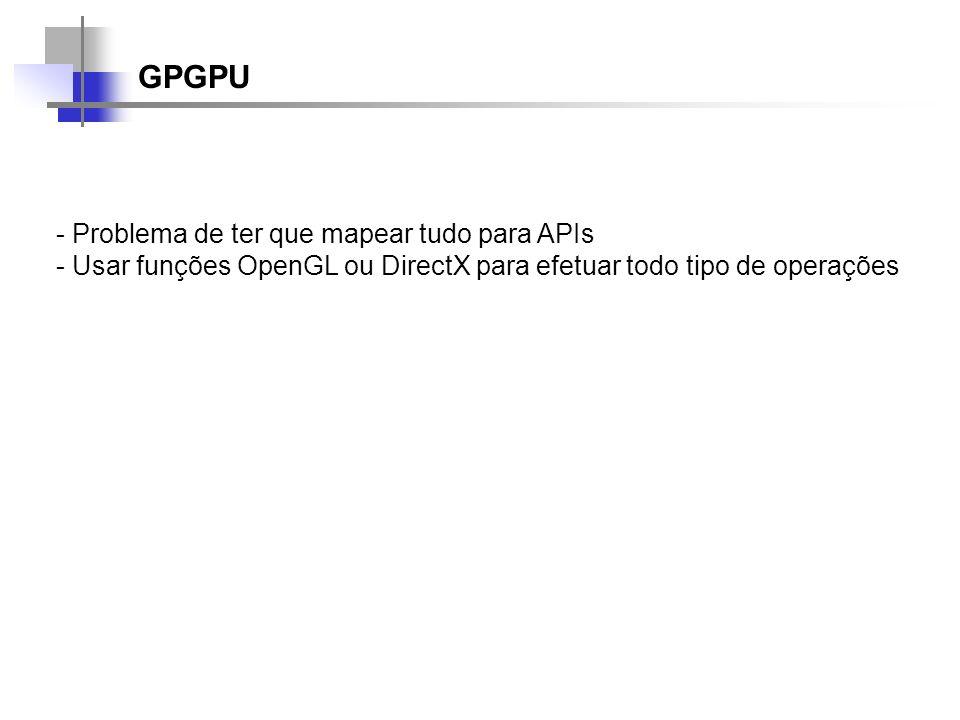 GPGPU Problema de ter que mapear tudo para APIs