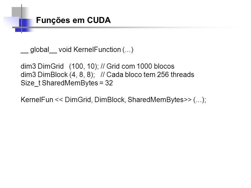 Funções em CUDA __ global__ void KernelFunction (...)