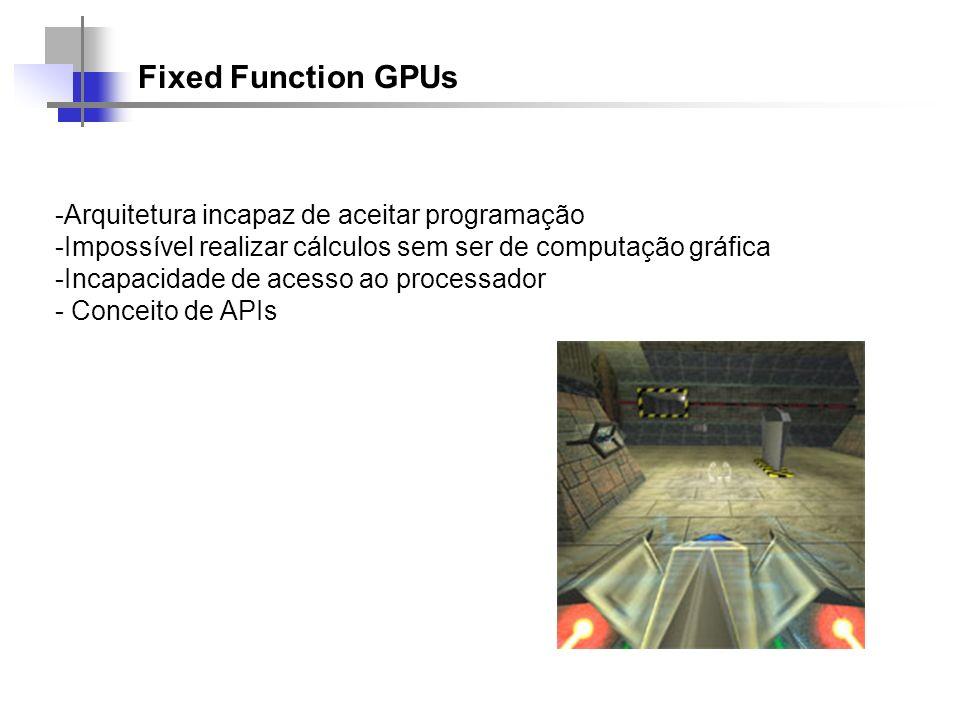 Fixed Function GPUs Arquitetura incapaz de aceitar programação