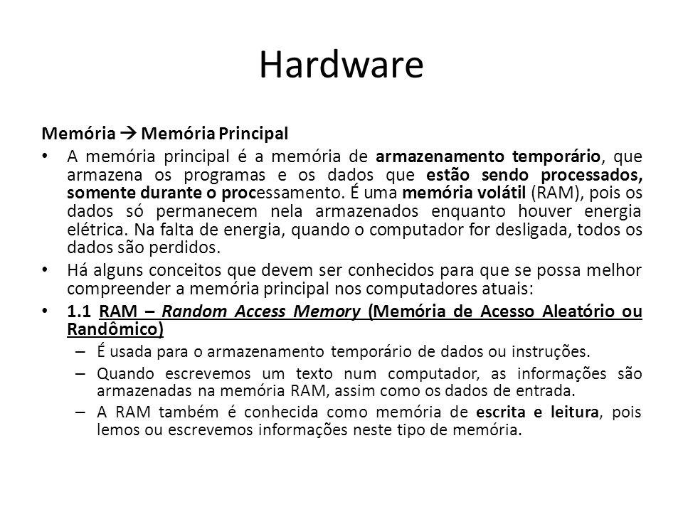 Hardware Memória  Memória Principal