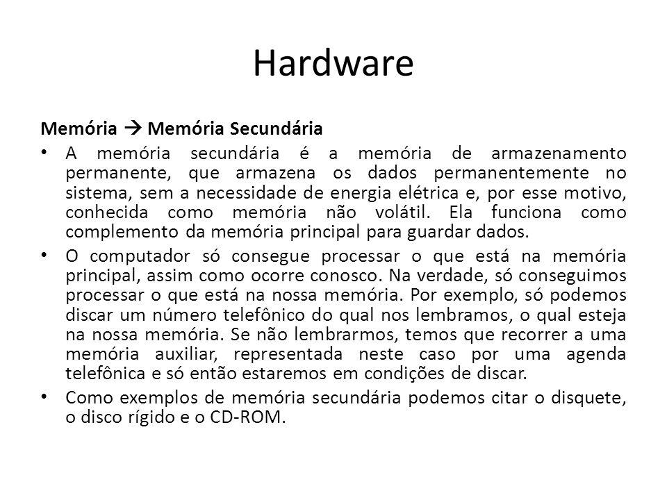 Hardware Memória  Memória Secundária