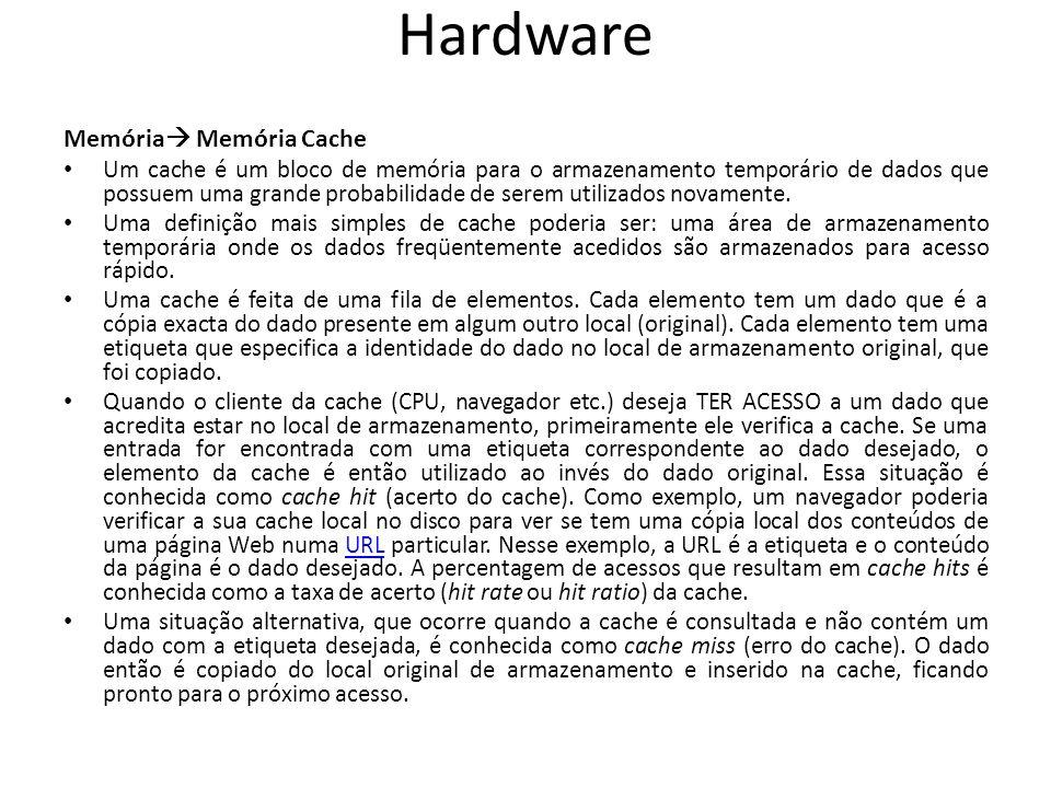 Hardware Memória Memória Cache
