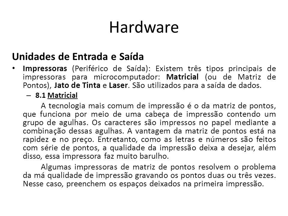 Hardware Unidades de Entrada e Saída