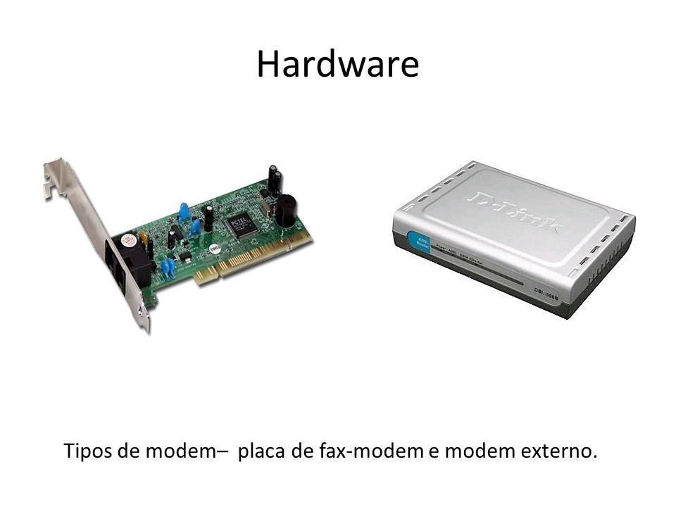 Tipos de modem– placa de fax-modem e modem externo.