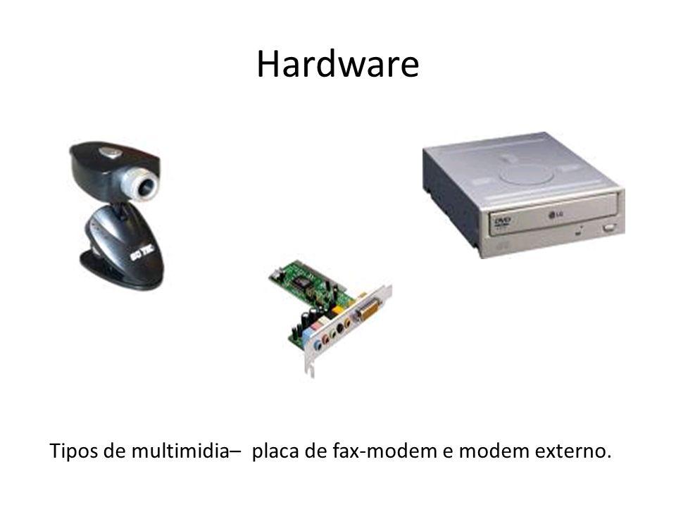 Tipos de multimidia– placa de fax-modem e modem externo.