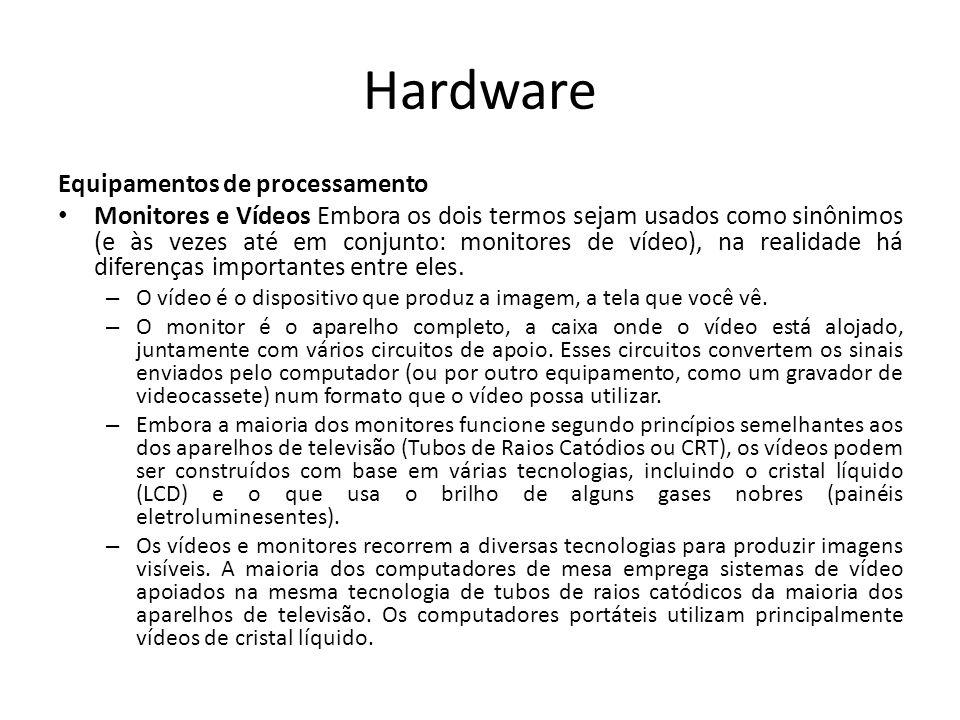 Hardware Equipamentos de processamento