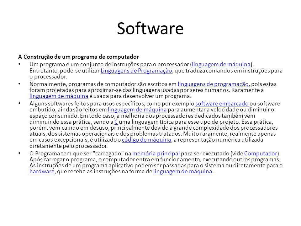Software A Construção de um programa de computador