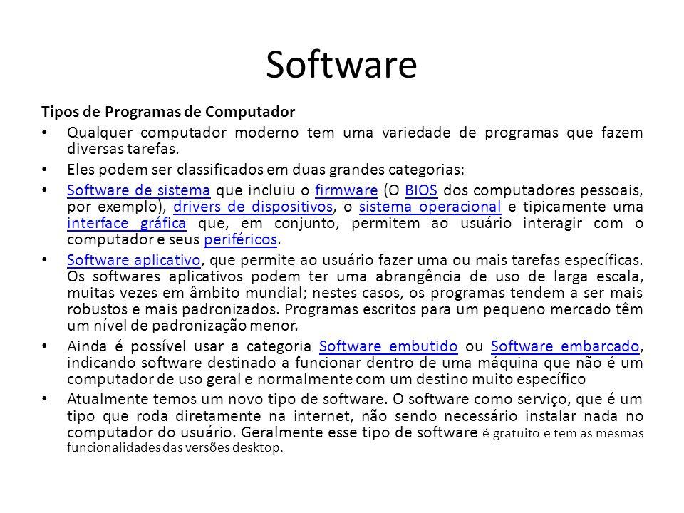 Software Tipos de Programas de Computador