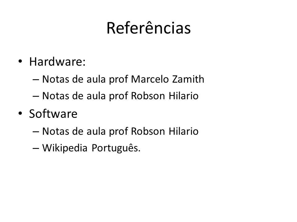 Referências Hardware: Software Notas de aula prof Marcelo Zamith