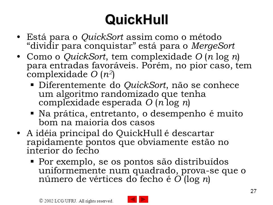 QuickHull Está para o QuickSort assim como o método dividir para conquistar está para o MergeSort.