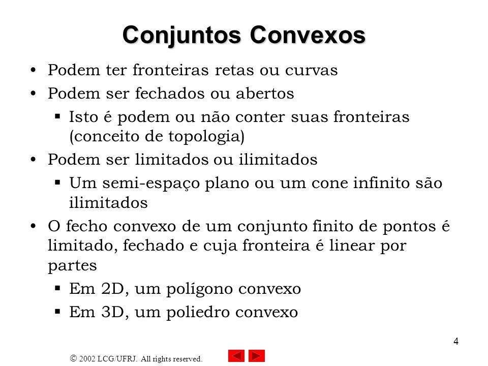 Conjuntos Convexos Podem ter fronteiras retas ou curvas