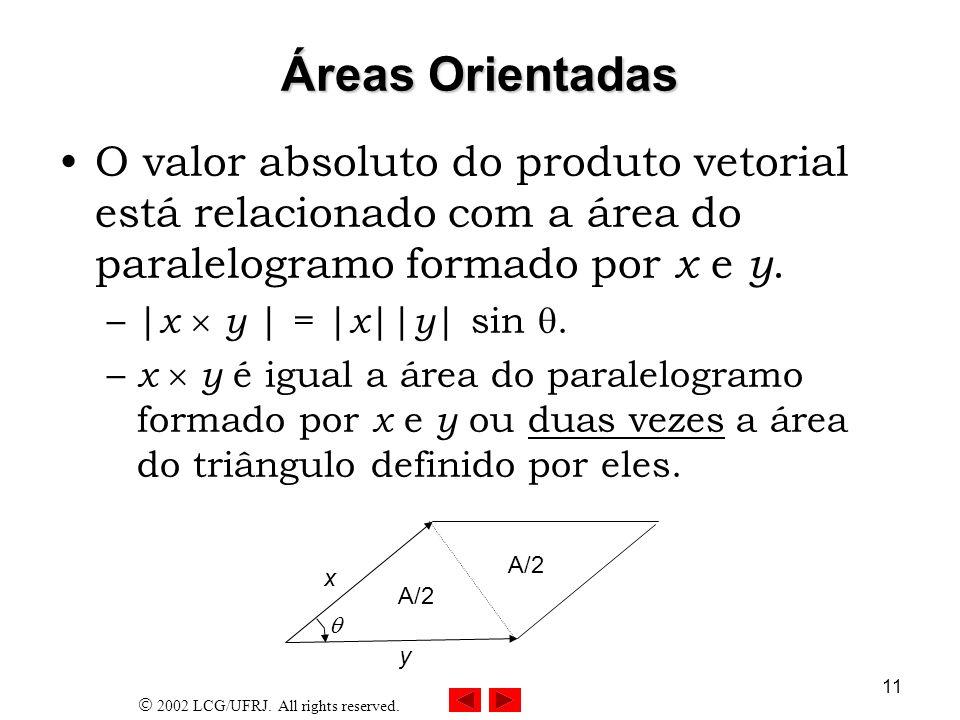 Áreas Orientadas O valor absoluto do produto vetorial está relacionado com a área do paralelogramo formado por x e y.