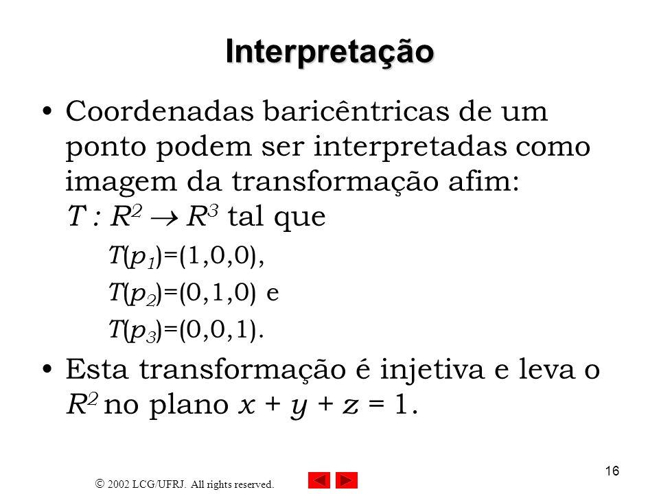 Interpretação Coordenadas baricêntricas de um ponto podem ser interpretadas como imagem da transformação afim: T : R2  R3 tal que.