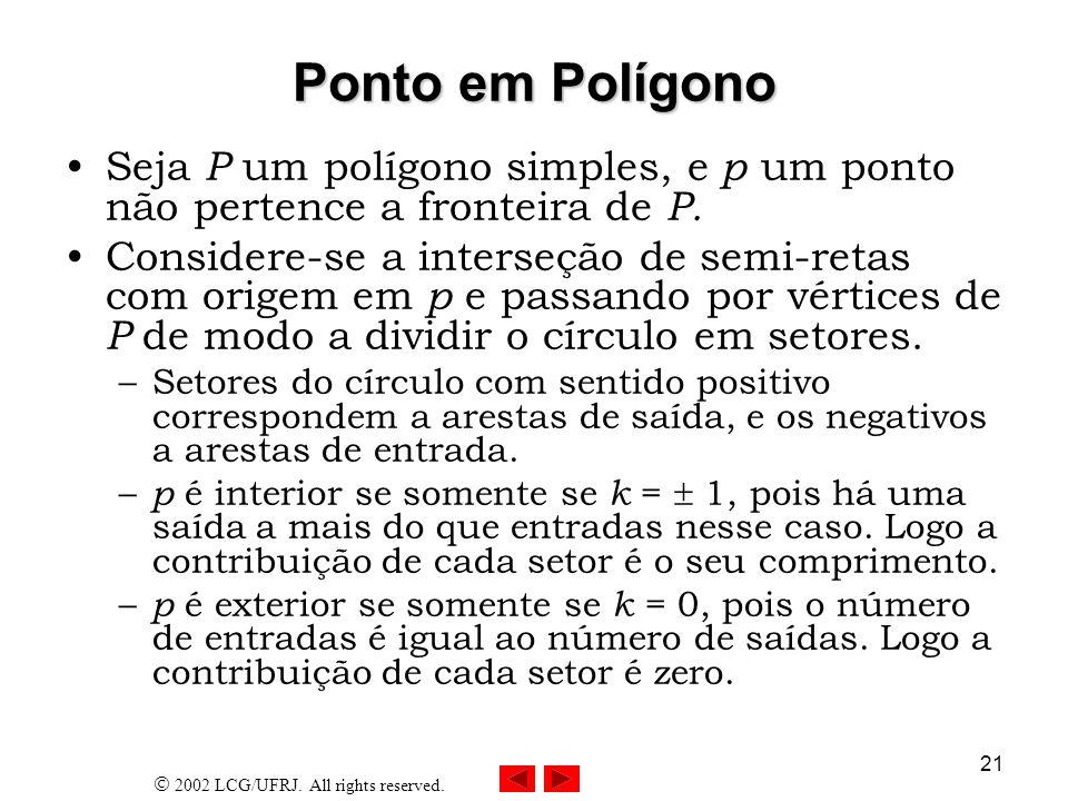 Ponto em Polígono Seja P um polígono simples, e p um ponto não pertence a fronteira de P.