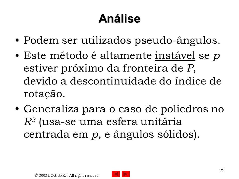 Análise Podem ser utilizados pseudo-ângulos.