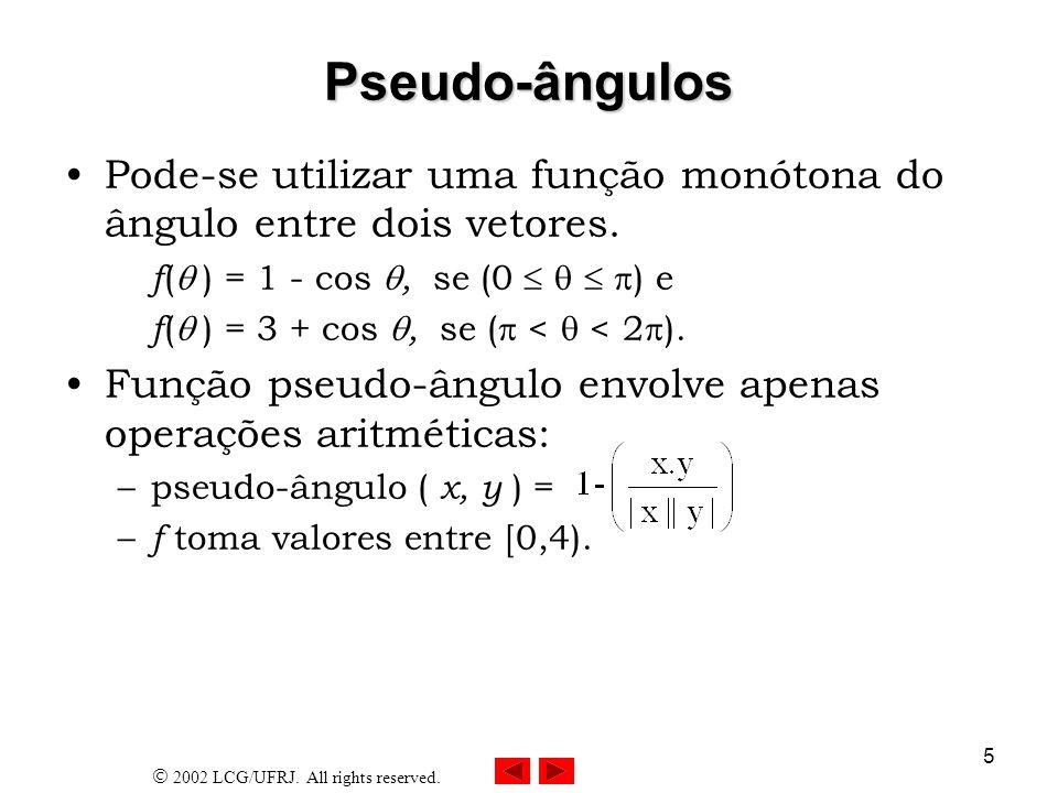 Pseudo-ângulos Pode-se utilizar uma função monótona do ângulo entre dois vetores. f( ) = 1 - cos , se (0    ) e.
