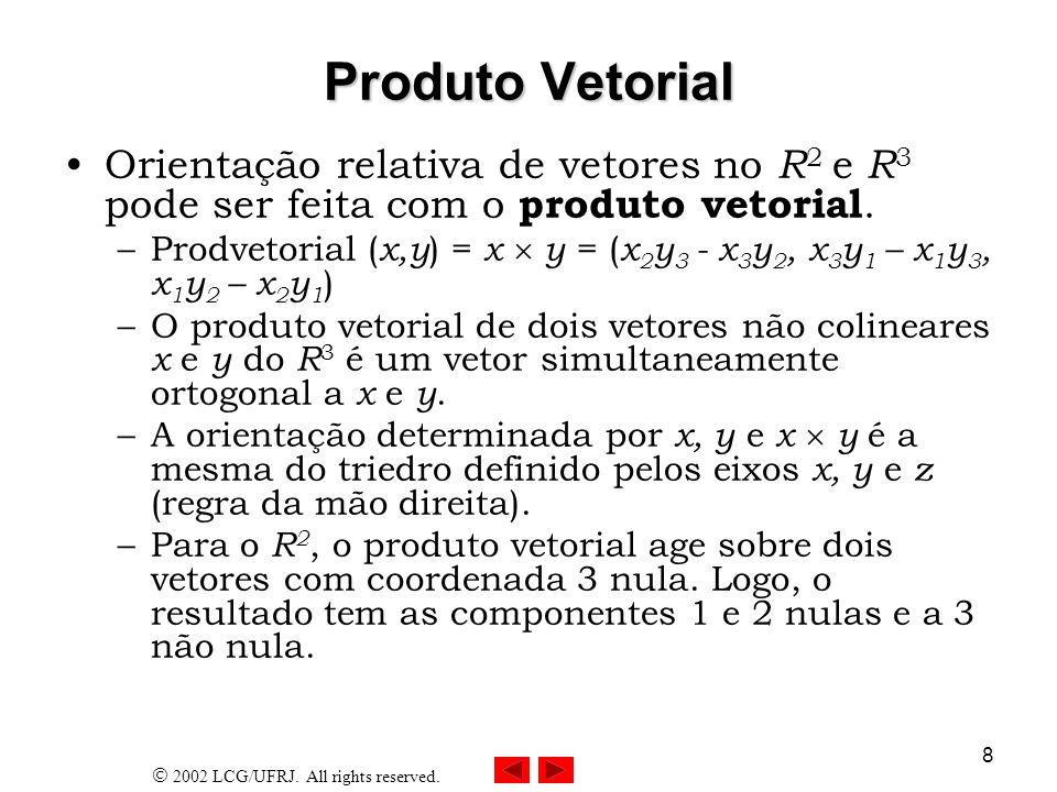 Produto Vetorial Orientação relativa de vetores no R2 e R3 pode ser feita com o produto vetorial.