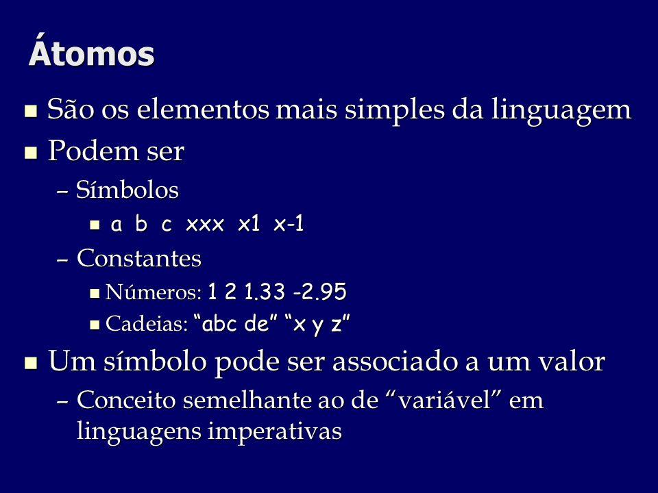Átomos São os elementos mais simples da linguagem Podem ser