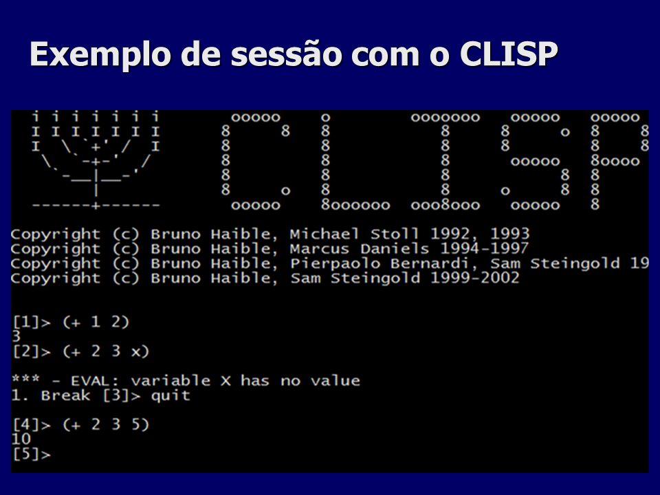 Exemplo de sessão com o CLISP