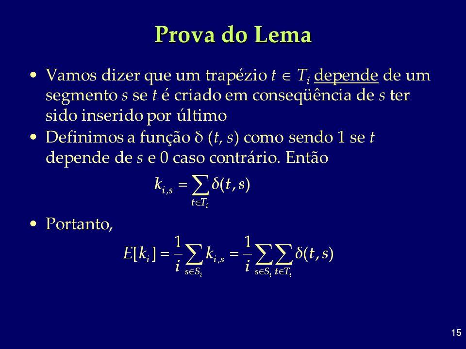 Prova do Lema Vamos dizer que um trapézio t  Ti depende de um segmento s se t é criado em conseqüência de s ter sido inserido por último.