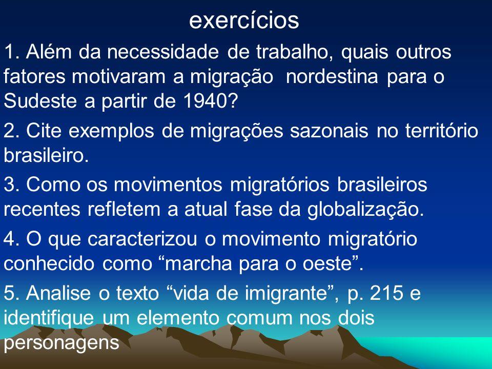 exercícios 1. Além da necessidade de trabalho, quais outros fatores motivaram a migração nordestina para o Sudeste a partir de 1940