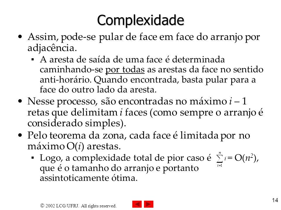 Complexidade Assim, pode-se pular de face em face do arranjo por adjacência.