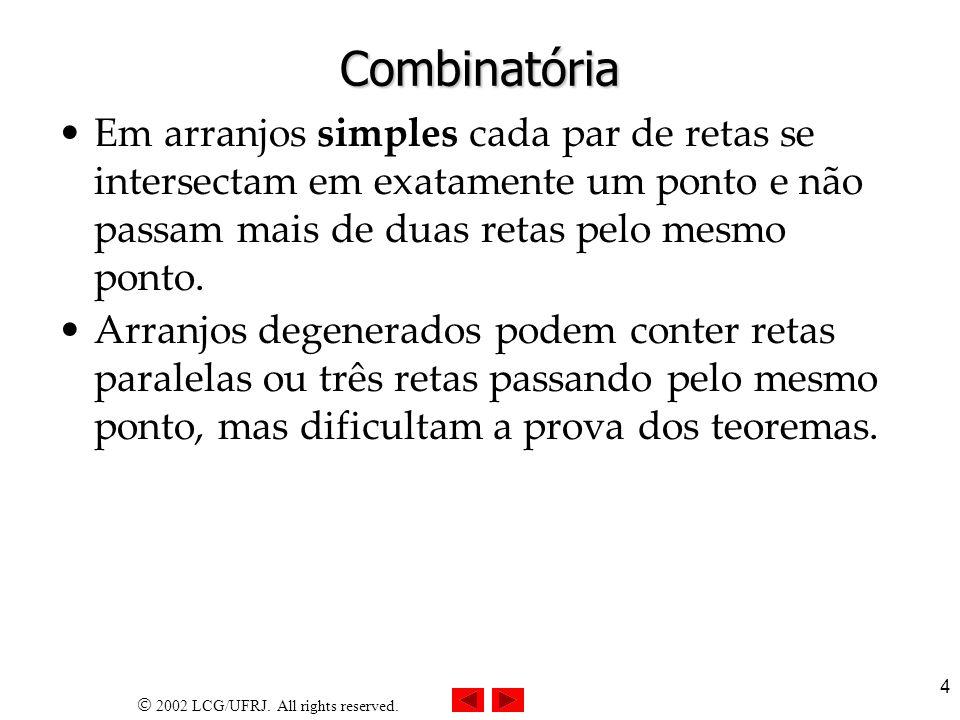 Combinatória Em arranjos simples cada par de retas se intersectam em exatamente um ponto e não passam mais de duas retas pelo mesmo ponto.