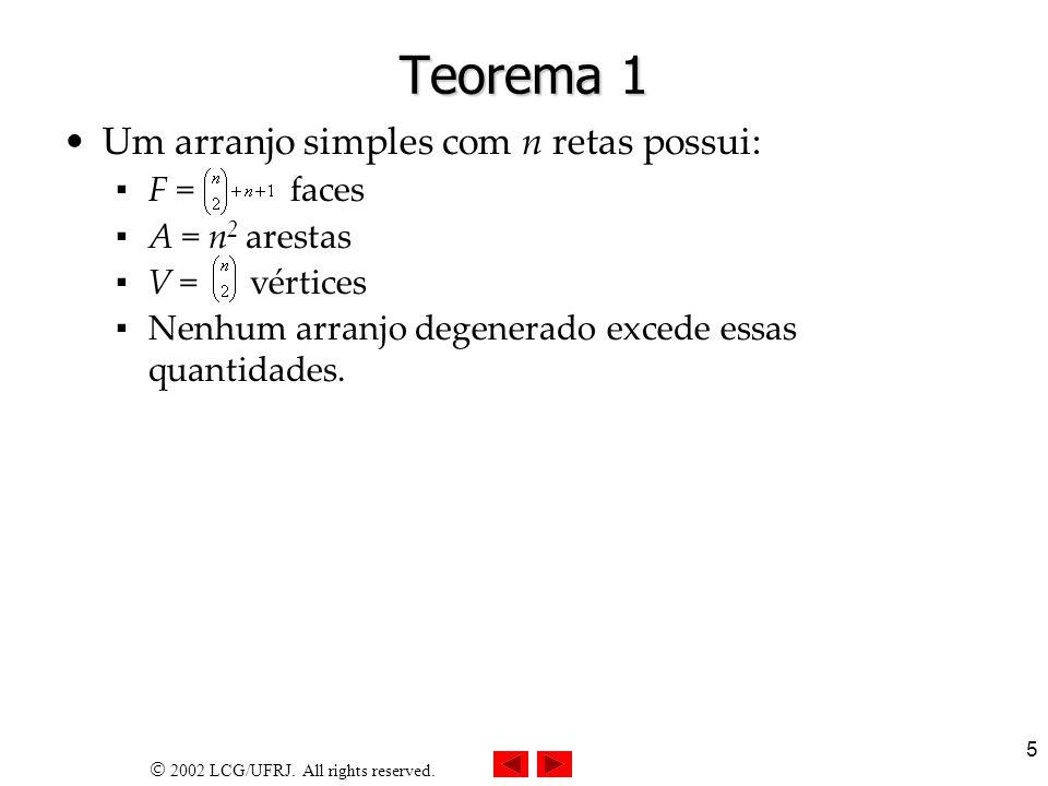 Teorema 1 Um arranjo simples com n retas possui: F = faces