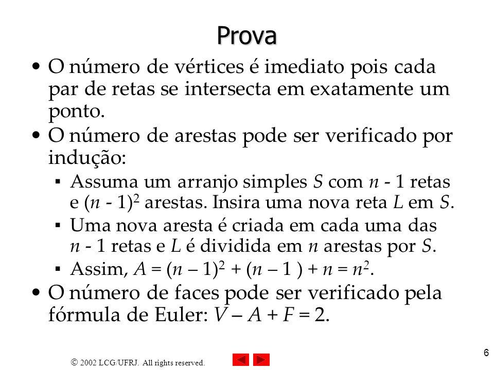 Prova O número de vértices é imediato pois cada par de retas se intersecta em exatamente um ponto.
