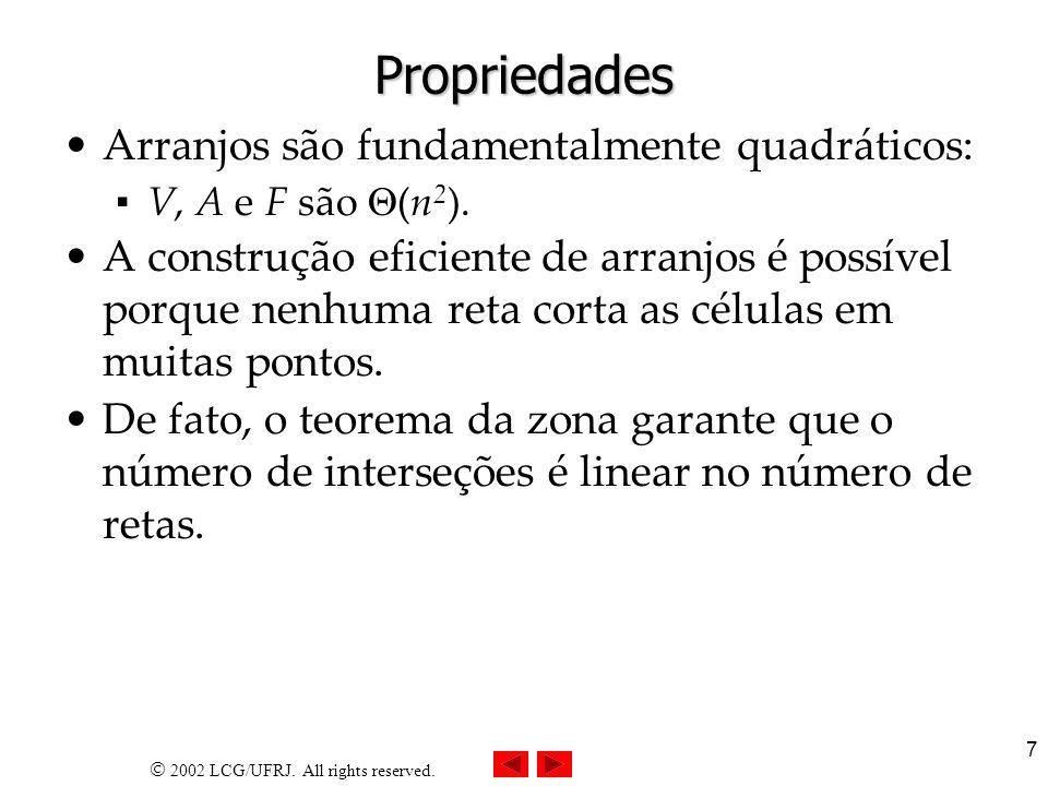 Propriedades Arranjos são fundamentalmente quadráticos: