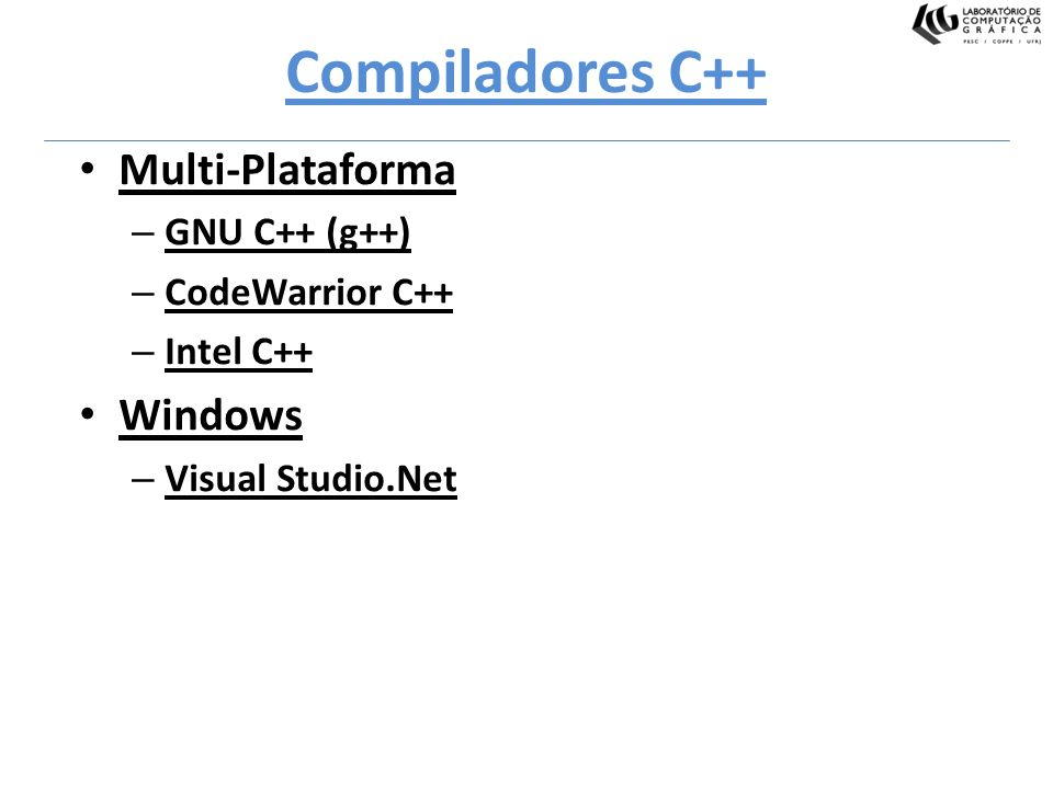 Compiladores C++ Multi-Plataforma Windows GNU C++ (g++)