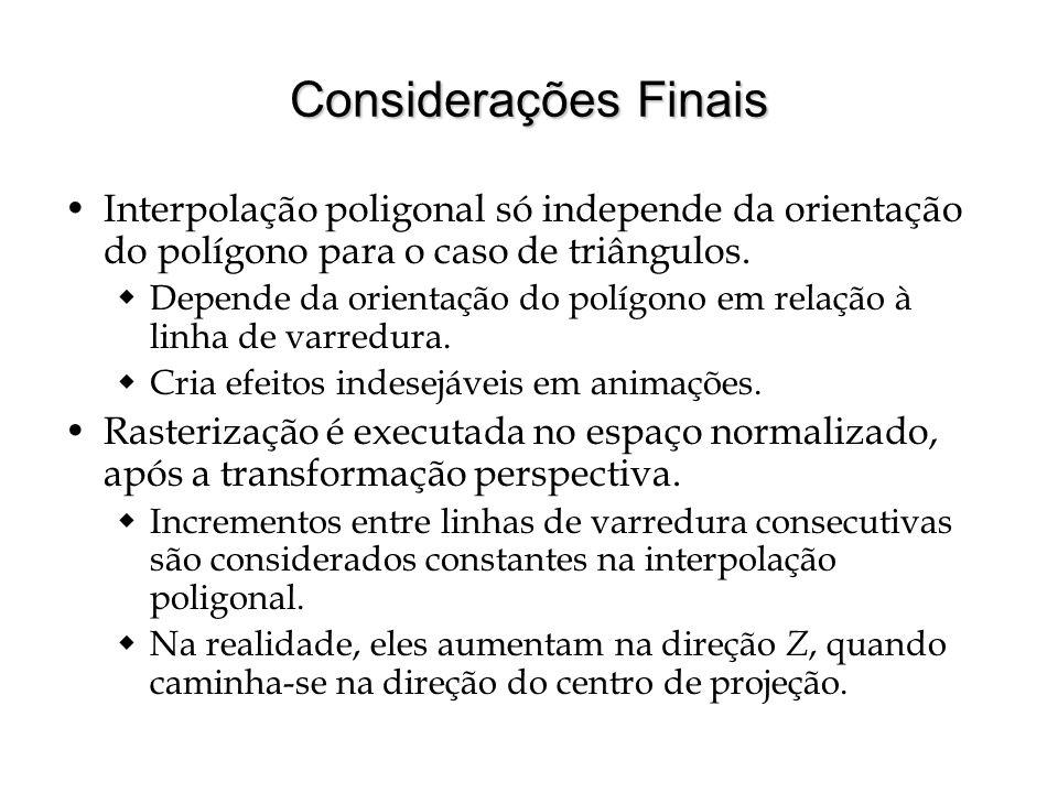 Considerações FinaisInterpolação poligonal só independe da orientação do polígono para o caso de triângulos.