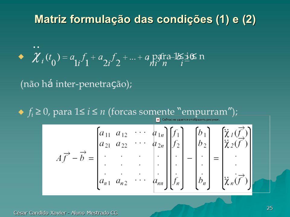 Matriz formulação das condições (1) e (2)