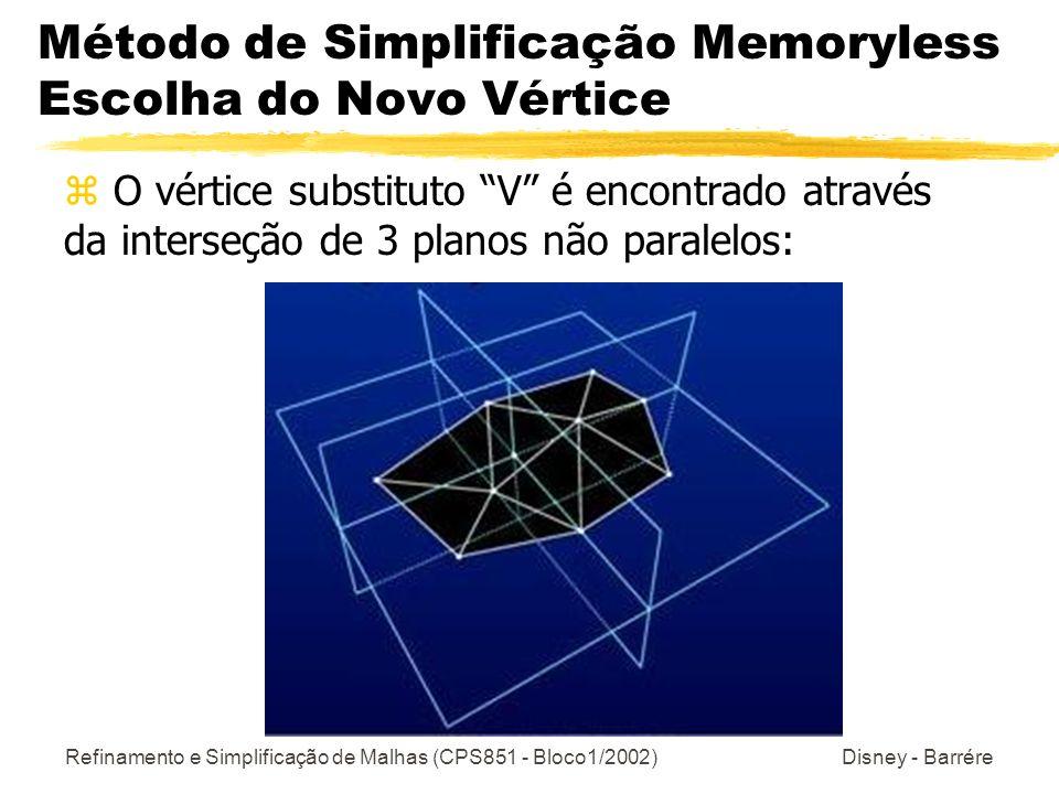 Método de Simplificação Memoryless Escolha do Novo Vértice