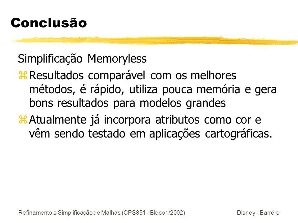 Conclusão Simplificação Memoryless