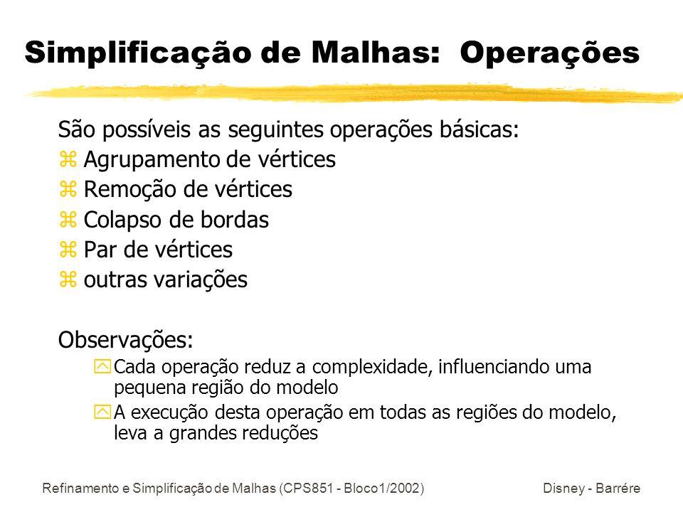 Simplificação de Malhas: Operações