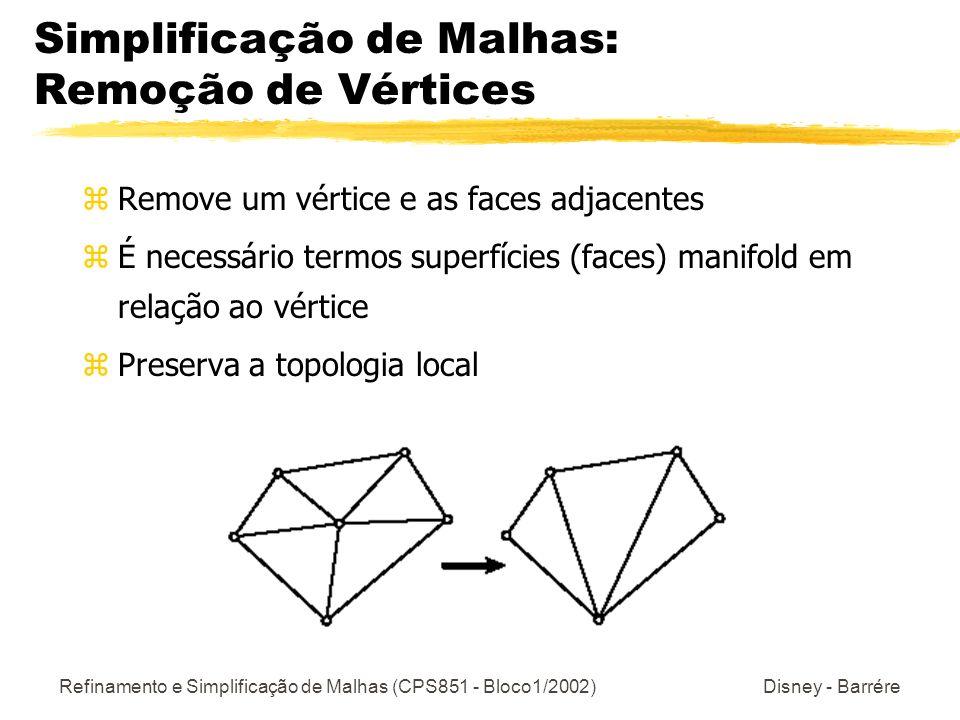 Simplificação de Malhas: Remoção de Vértices
