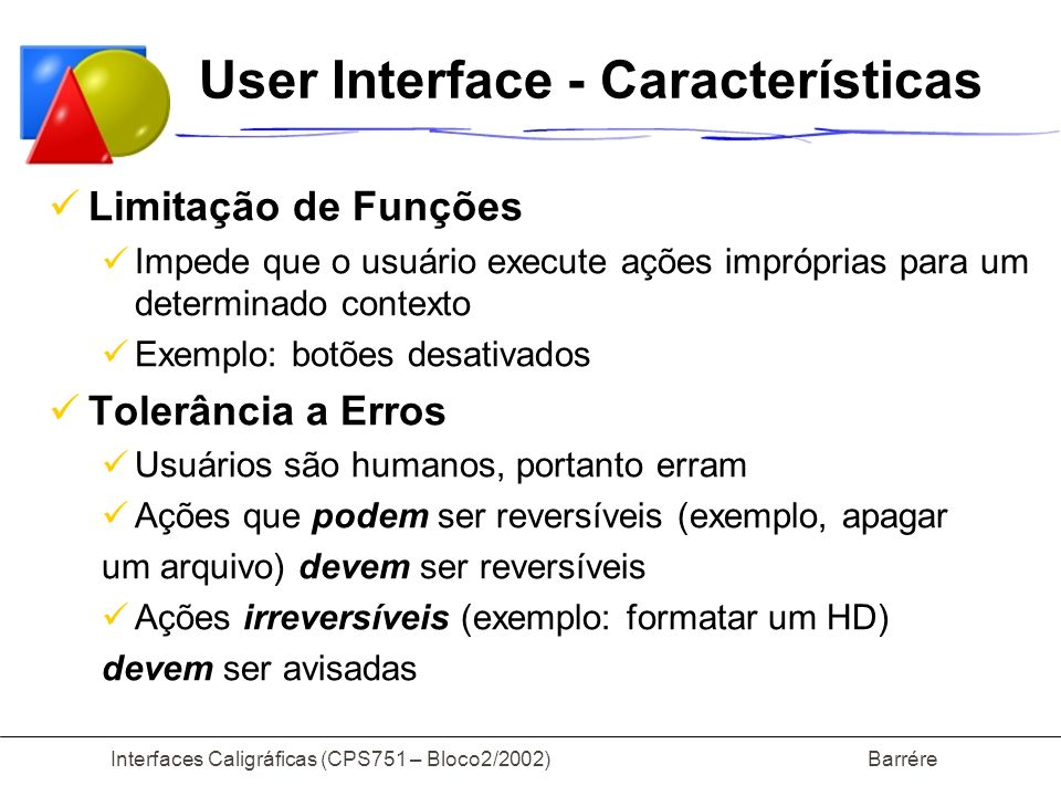 User Interface - Características